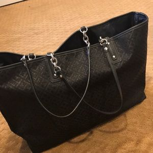 Handbags - BLack bag with silver and red detail